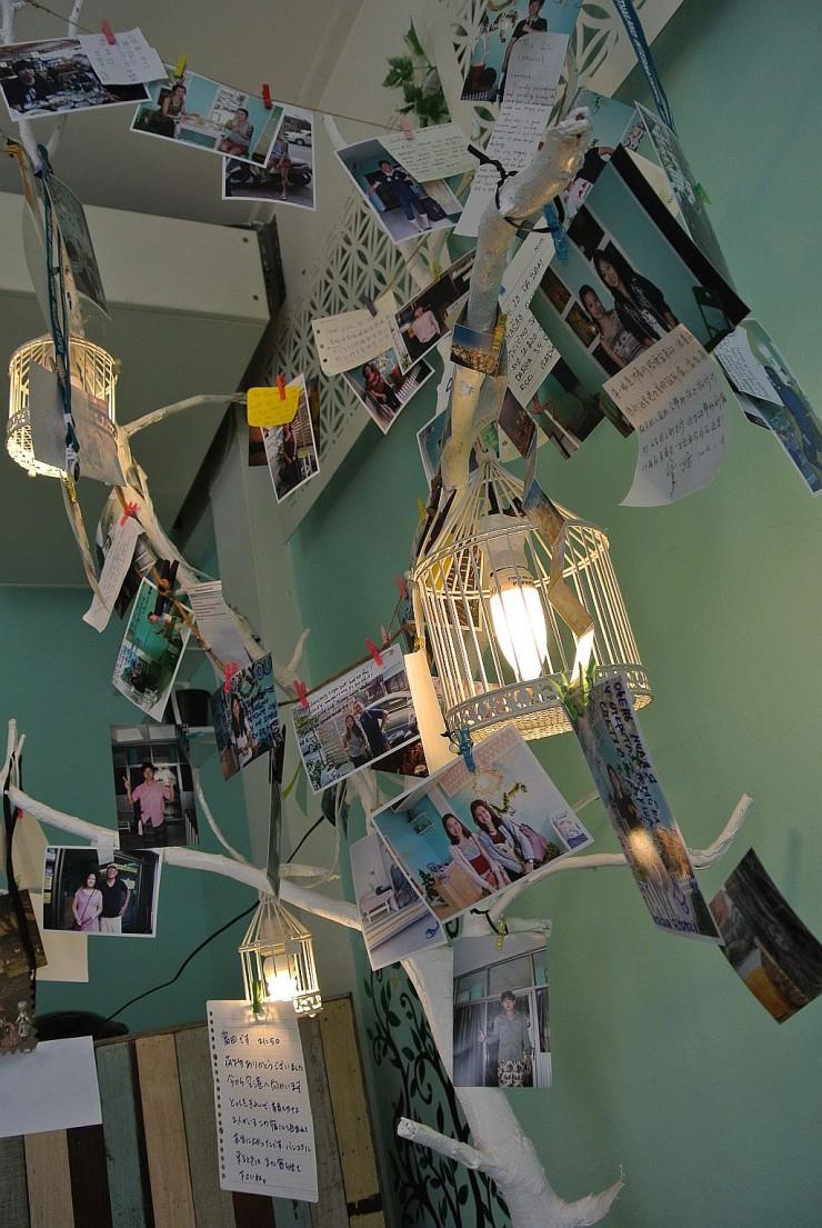 """""""宿泊者のスナップ写真と色々な言語でオーナー夫妻への感謝や感想が飾られている"""